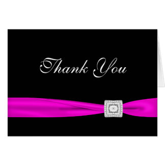 Black Diamond Hot Pink Fuchsia Thank You Cards
