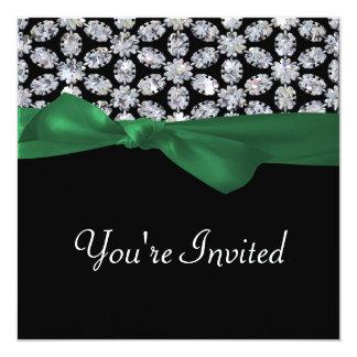 Black & Diamond Mosaic Green Bow Wedding Card