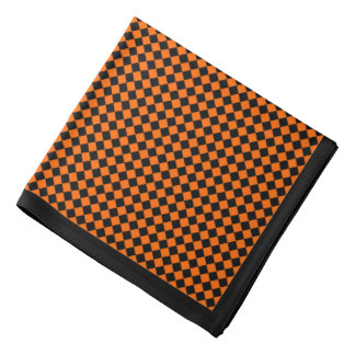 Black Diamond on Orange, Black Border Bandana