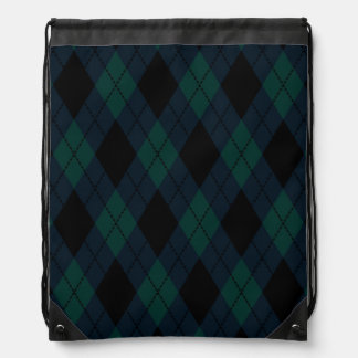Black Diamond Tartan Drawstring Backpack