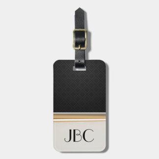 Black Diamond Tile Banded Monogram Luggage Tag