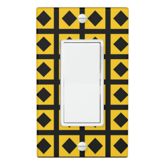 Black Diamonds and Gold Squares Light Switch Cover