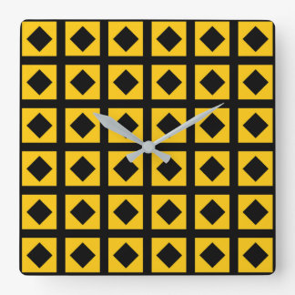 Black Diamonds and Gold Squares Square Wall Clock