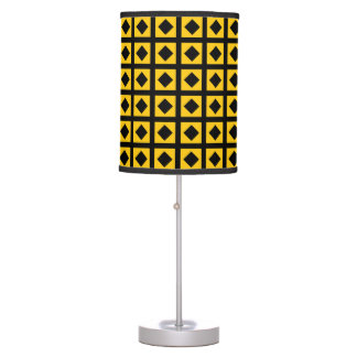 Black Diamonds and Gold Squares Table Lamp