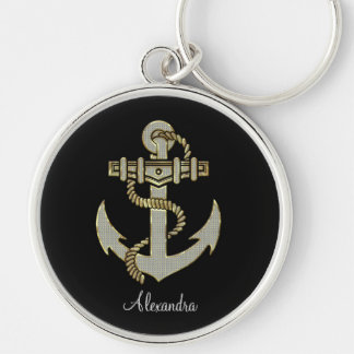 Black Diamonds And Gold Tones Anchor-Monogram Silver-Colored Round Keychain