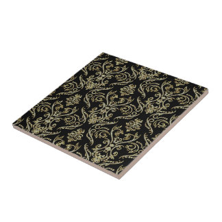 Black Diamonds And Gold Tones Floral Damasks Tile