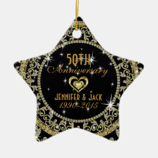 Black Diamonds & Gold 50th Wedding Anniversary Ceramic Star Ornament
