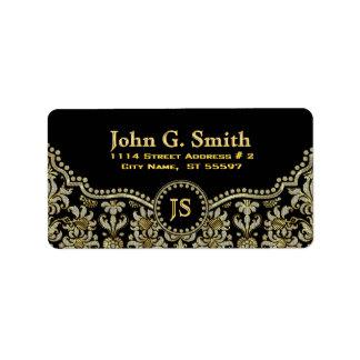 Black Diamonds & Gold Floral Damasks Label