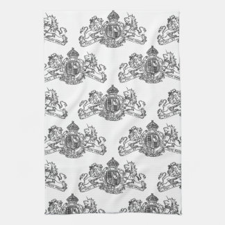 Black Dieu et Mon Droit British Coat of Arms Kitchen Towel