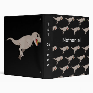Black Dinosaur School Notebook Custom 3 Ring Binders