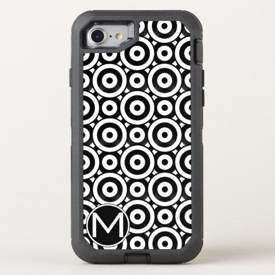 Black Disc Monogram OtterBox Defender iPhone 8/7 Case