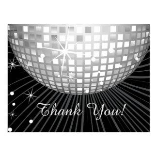 BLACK, DISCO PARTY, DANCE, BIRTHDAY THANK YOU CARD