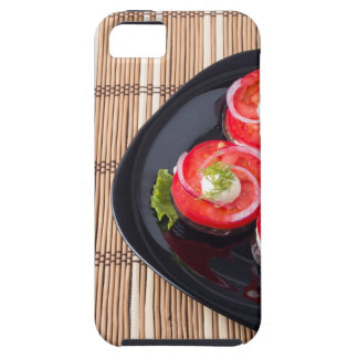 Black dish with sliced tomatoes and lettuce iPhone 5 case