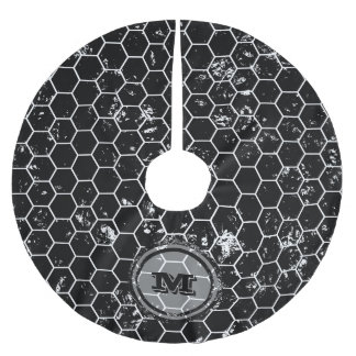 Black Distressed Geometric Monogram Brushed Polyester Tree Skirt