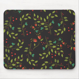 Black Ditsy Floral Mouse Pad