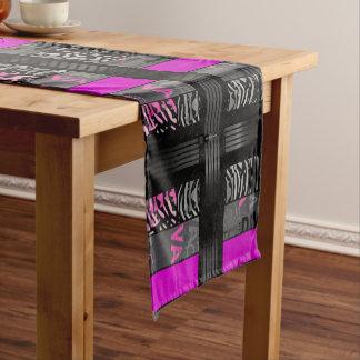 Black Diva Pink Zebra Short Table Runner