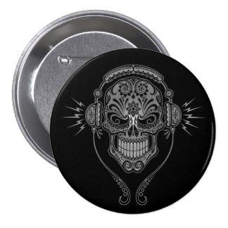 Black DJ Sugar Skull 3 Inch Round Button