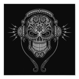 Black DJ Sugar Skull Personalized Announcements