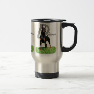 Black Doberman Pinscher travel mug