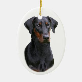 Black Dobermann Pinscher natural ears ornament