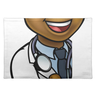 Black Doctor Thumbs Up Cartoon Character Sign Placemat