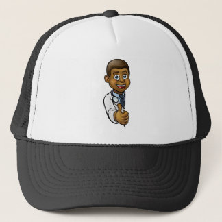 Black Doctor Thumbs Up Cartoon Character Sign Trucker Hat