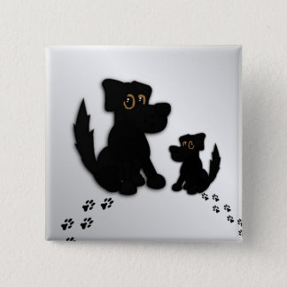 Black Dog Family 2 Inch Square Button