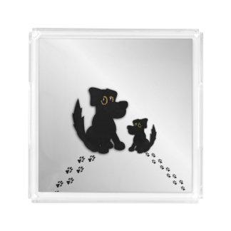 Black Dog Family Acrylic Tray