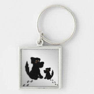 Black Dog Family Keychain