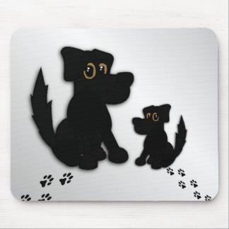 Black Dog Family Mouse Pad
