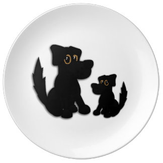 Black Dog Family Plate