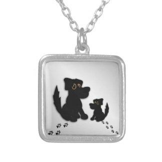 Black Dog Family Silver Plated Necklace