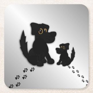 Black Dog Family Square Paper Coaster