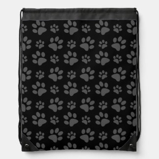 Black dog paw print backpacks