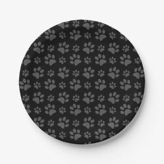Black dog paw print paper plate