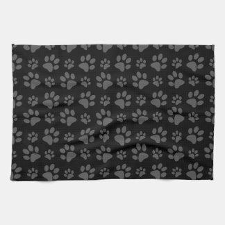 Black dog paw print pattern kitchen towel