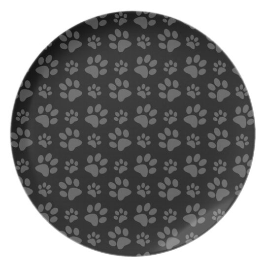 Black dog paw print pattern plate