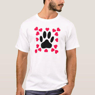 Black Dog Paw Print With Heart Shapes T-Shirt