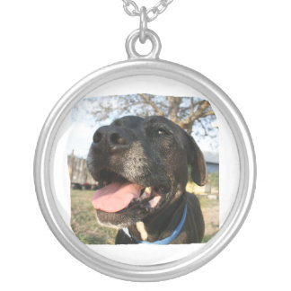 Black Dog Pink Tongue Smiling In Camera Round Pendant Necklace