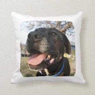 Black Dog Pink Tongue Smiling In Camera Throw Pillow