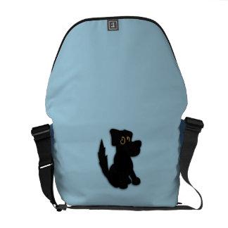 Black Dog Pooch Blue Courier Bag
