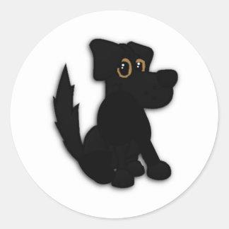 Black Dog Pooch Round Sticker