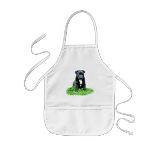 Black dog puppy kids apron