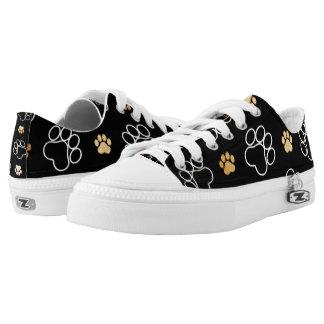 Black Dog Puppy Paw Print Tan White Sneaker Shoes