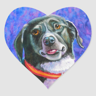 Black Dog Raspberry Heart Sticker