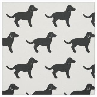 Black Dog Silhouette Pattern Fabric