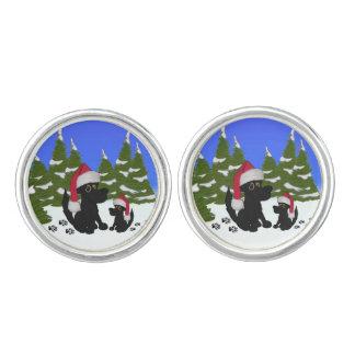 Black Dogs Christmas Cuff Links