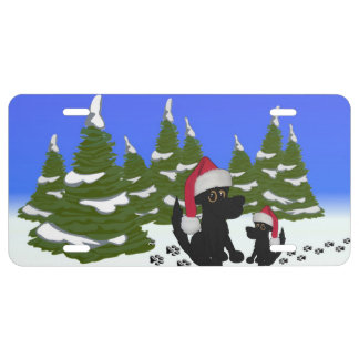 Black Dogs Christmas License Plate