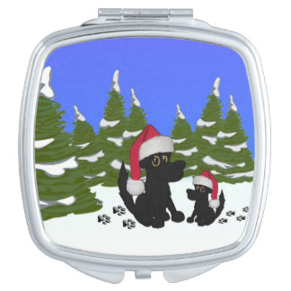 Black Dogs Christmas Makeup Mirrors