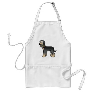 Black Domino Afghan Hound Cartoon Dog Standard Apron